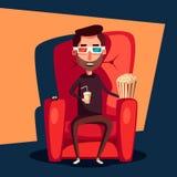 Cinema Time. Home movie watching. Cartoon vector illustration Stock Photo