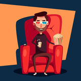 Cinema Time. Home movie watching. Cartoon vector illustration Stock Images