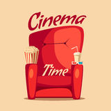 Cinema Time. Home movie watching. Cartoon vector illustration. Red sofa. Web, banner and logo design. Popcorn, cola and 3d glasses. Vintage style. Food and Royalty Free Stock Photos
