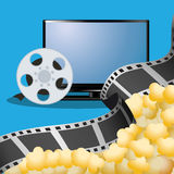 Cinema tv film reel with pop corn poster. Illustration eps 10 Stock Photo