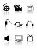 Cinema and TV icons Stock Photography