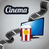 Cinema tv lcd strip film with bucket pop corn Royalty Free Stock Images