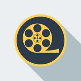 Cinema type icon. Reel with film icon. Flat vector cartoon illustration. Objects  on a white background Stock Image