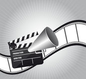 Cinema vector. Clapper board with megaphone  and film strip. vector illustration Stock Images