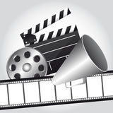 Cinema vector. Film strip with clapper board and megaphone, cinema. vector Stock Photos