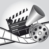 Cinema vector. Megaphone with clapper board and movie film. vector illustration Royalty Free Stock Image