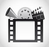 Cinema vector. Film strip with cinema elements over gray background. vector Stock Photography