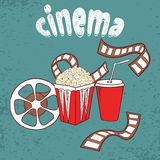 Cinema vector background. Set of cinema symbols. Popcorn, film reel and strip. Doodle illustration Royalty Free Stock Photo