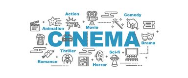 Cinema vector banner. Design concept, flat style with icons Royalty Free Stock Photo