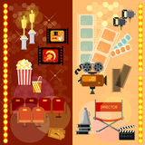 Cinema vector banners festival movie poster template tickets. Popcorn soda filmstrip awards Royalty Free Stock Photography
