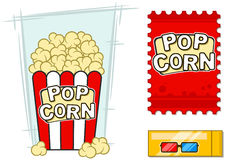 Cinema vector icons set stereo glasses popcorn Stock Photo