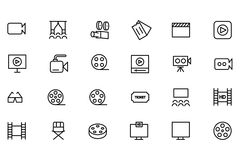 Cinema Vector Line Icons 2. If you're looking to add some adrenaline to your designs, this cinema icons set is sure to do the trick. Perfect for your cinema Stock Photography