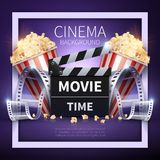 Cinema vector poster. Online movies and entertainment industry background. Illustration of cinema movie banner for entertainment video Stock Photo