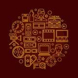 Cinema vector round illustration. Cinema vector illustration - round golden sign with cinema thin line icons. Glossy cinema symbol on dark red background Stock Photography