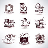 Cinema vector symbols and retro emblems Stock Images