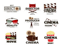 Cinema vector symbols and retro emblems collection. Stock Photo