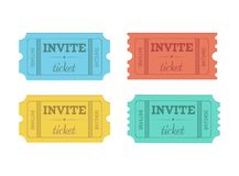 Cinema vector tickets isolated on white background. Flat style Royalty Free Stock Photography