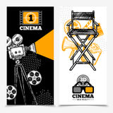 Cinema Vertical Banners. With camera tape  director chair and 3d glasses vector illustration Royalty Free Stock Image