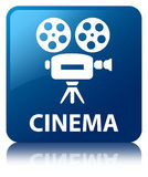 Cinema (video camera icon) blue square button. Cinema (video camera icon) isolated on blue square button reflected abstract illustration Royalty Free Stock Photography