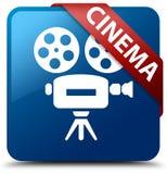 Cinema (video camera icon) blue square button red ribbon in corn. Cinema (video camera icon) isolated on blue square button with red ribbon in corner abstract Stock Photos