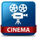 Cinema (video camera icon) blue square button red ribbon in midd. Cinema (video camera icon)  on blue square button with red ribbon in middle abstract Stock Photos