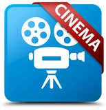 Cinema (video camera icon) cyan blue square button red ribbon in. Cinema (video camera icon) isolated on cyan blue square button with red ribbon in corner Royalty Free Stock Photo