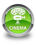 Cinema (video camera icon) glossy green round button Stock Photography