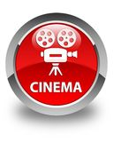 Cinema (video camera icon) glossy red round button Royalty Free Stock Photography