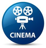 Cinema (video camera icon) blue round button. Cinema (video camera icon) isolated on blue round button abstract illustration Royalty Free Stock Photography