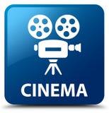 Cinema (video camera icon) blue square button. Cinema (video camera icon) isolated on blue square button abstract illustration Stock Photos