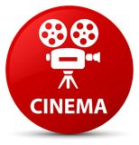 Cinema (video camera icon) red round button. Cinema (video camera icon) isolated on red round button abstract illustration Royalty Free Stock Images