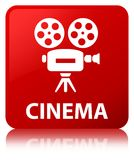 Cinema (video camera icon) red square button. Cinema (video camera icon) isolated on red square button reflected abstract illustration Royalty Free Stock Images