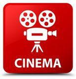 Cinema (video camera icon) red square button. Cinema (video camera icon) isolated on red square button abstract illustration Royalty Free Stock Photos