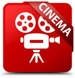 Cinema (video camera icon) red square button red ribbon in corne. Cinema (video camera icon)  on red square button with red ribbon in corner abstract Stock Images