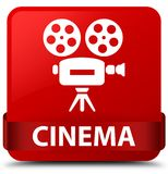 Cinema (video camera icon) red square button red ribbon in middl. Cinema (video camera icon) isolated on red square button with red ribbon in middle abstract Royalty Free Stock Photography
