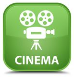 Cinema (video camera icon) special soft green square button Royalty Free Stock Photo