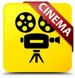 Cinema (video camera icon) yellow square button red ribbon in co. Cinema (video camera icon)  on yellow square button with red ribbon in corner abstract Stock Images