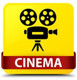 Cinema (video camera icon) yellow square button red ribbon in mi. Cinema (video camera icon) isolated on yellow square button with red ribbon in middle abstract Stock Photography