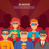 Cinema Viewers Design Concept. Cinema design concept with viewers watching 3d movie and eating popcorn flat  illustration Royalty Free Stock Images