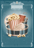 Cinema vintage background. Popcorn bowl, disposable cup for drinks with straw, film strip and ticket. Cinema attributes. Detailed vector illustration Stock Photos