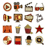 Cinema vintage icons set color Royalty Free Stock Photo