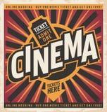 Cinema vintage poster design Royalty Free Stock Image