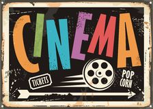 Cinema vintage signboard design concept. With colorful text and film roll on black background. Vector illustration Royalty Free Stock Image