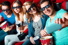 Cinema visitors doing selfie Stock Image