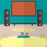 watching home cinema flat Stock Photography