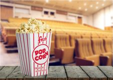 Cinema. Watching multiplex group positivity teens fun Stock Photo