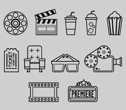 Cinema Watching Outline Icon. Vector icon outline of  watching cinema Stock Image