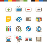 Cinema web icons collection. Cinema color web icons collection Royalty Free Stock Images