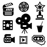 Cinema web and mobile logo icons collection. On white back. Vector symbols of camera, award, clapper board etc Royalty Free Stock Images
