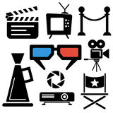 Cinema web and mobile logo icons. Collection  on white back. Vector symbols of camera, tv, clapboard etc Royalty Free Stock Photos